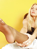 licking nylon covered feet